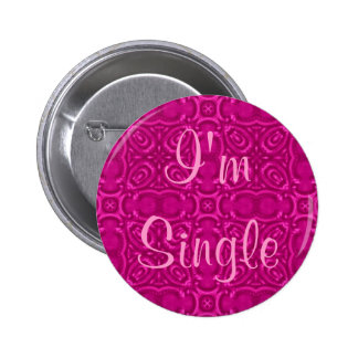 Neon hot pink kaleidoscope, I'm Single 6 Cm Round Badge