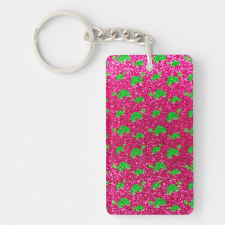 Neon hot pink turtle glitter pattern Double-Sided rectangular acrylic key ring