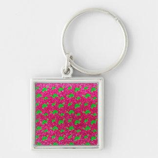 Neon hot pink turtle glitter pattern key chains