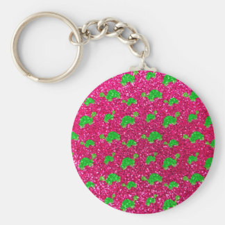 Neon hot pink turtle glitter pattern keychain