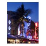 Neon hotel at night, Ocean Drive, South Miami Beac Postcard