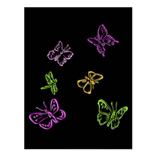 Neon Insects Postcard