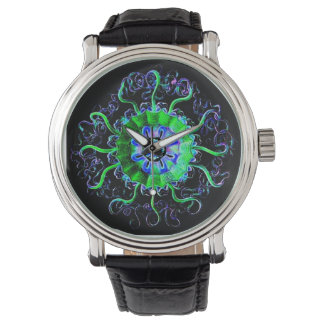 Neon Jellyfish Yoga Mandala Art Watch