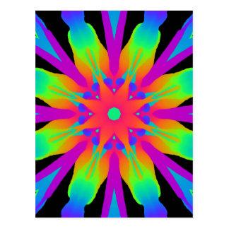 Neon Kaleidoscope Flow Postcard