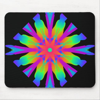 Neon Kaleidoscope Flower Mousepad