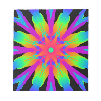 Neon Kaleidoscope Flower Notepad