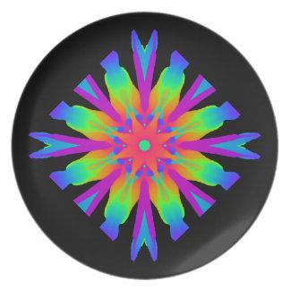 Neon Kaleidoscope Flower Plate