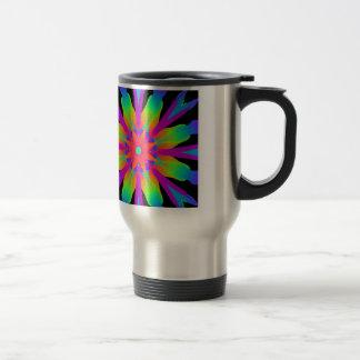 Neon Kaleidoscope Flower Travel Mug