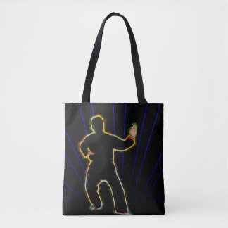 Neon karate man on tote bag