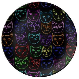 Neon Kitties Porcelain Plates