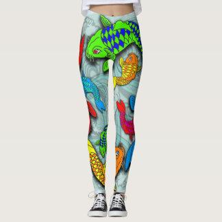 Neon koi fish tattoo style leggings