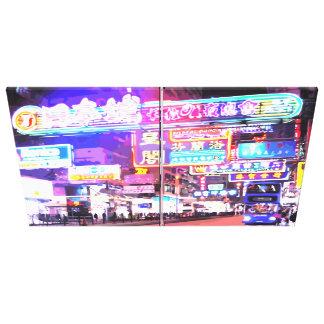 Neon Kowloon Hong Kong Stretched Canvas Print