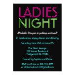 Neon Ladies Night Card 13 Cm X 18 Cm Invitation Card
