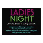 Neon Ladies Night Card 9 Cm X 13 Cm Invitation Card