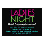 Neon Ladies Night Card Custom Invitations