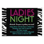 Neon Ladies Night Card zebra Personalised Announcement