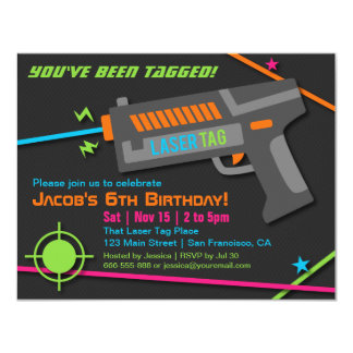 Neon Laser Tag Birthday Party Invitations