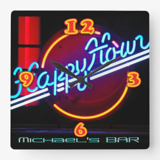 Neon Light BAR CLOCK Personalized Happy Hour