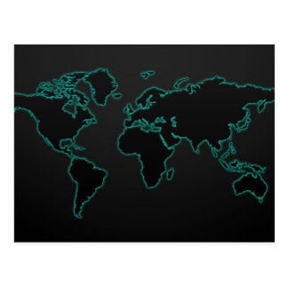 Neon Light Map of the World Postcard