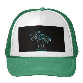 Neon Lighted Tropical Palm Trees Image Trucker Hats