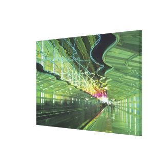 Neon lighting in corridor of the O'hare Airport, Canvas Prints