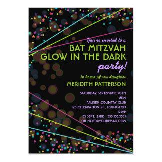 Neon Lights Bat Mitzvah Glow in the Dark Party 5x7 Paper Invitation Card