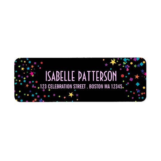 Neon Lights Colourful Confetti Party Address Return Address Label