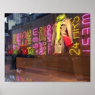 Neon Lights Department Store Window New York NYC Poster