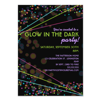 "Neon Lights Glow in the Dark Party Invitation 5"" X 7"" Invitation Card"