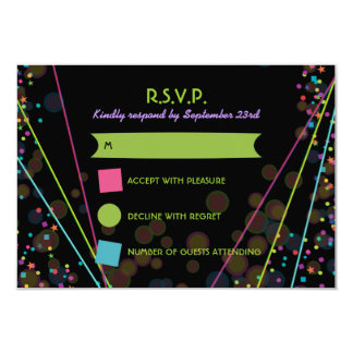 "Neon Lights Glow in the Dark RSVP Response Card 3.5"" X 5"" Invitation Card"