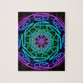 Neon Lights Mandala Design Jigsaw Puzzle