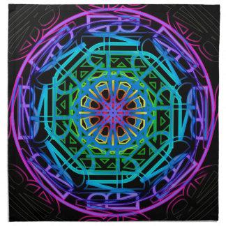 Neon Lights Mandala Design Napkin