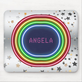 Neon Lights Silver Gold Stars | Monogrammed Mouse Pad