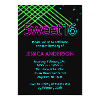 Neon Lights Sweet 16 Birthday Party 5x7 Paper Invitation Card