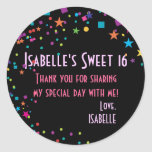 Neon Lights Sweet 16 Club Party Favour Sticker