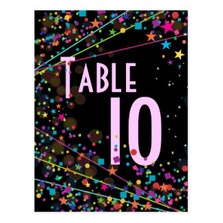 Neon Lights Sweet 16 Club Party Table Number Card