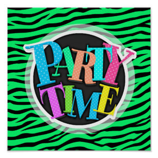 Neon Lime Green and Black Animal Print Zebra