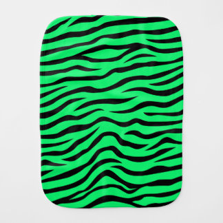 Neon Lime Green and Black Animal Print Zebra Burp Cloths