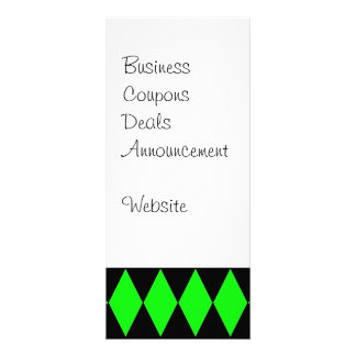 Neon Lime Green and Black Diamond Harlequin Patter Full Color Rack Card