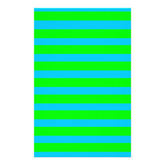 Neon Lime Green and Teal Blue Stripes Customised Stationery