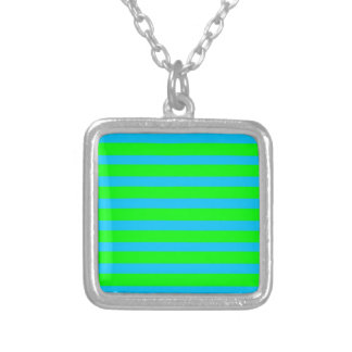 Neon Lime Green and Teal Blue Stripes Pendants