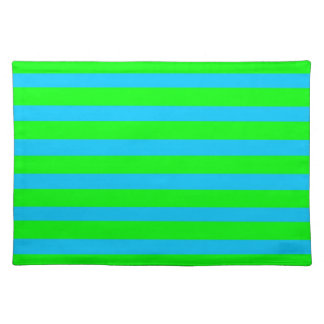 Neon Lime Green and Teal Blue Stripes Placemats