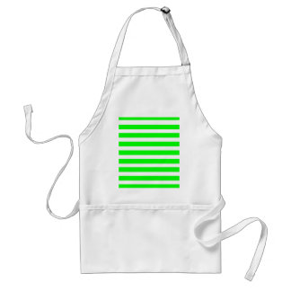 Neon Lime Green and White Stripes Pattern Novelty Aprons