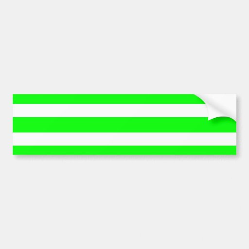 Neon Lime Green and White Stripes Pattern Novelty Bumper Stickers
