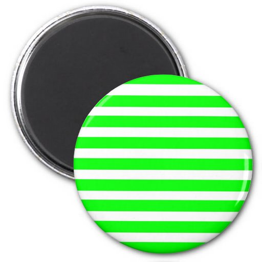 Neon Lime Green and White Stripes Pattern Novelty Magnets