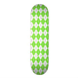 Neon Lime Green & White Argyle Skateboard Deck