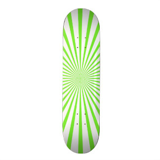Neon Lime Green & White Radiant Stripes Custom Skateboard