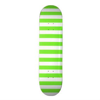 Neon Lime Green & White Stripes; Striped Skate Board Deck