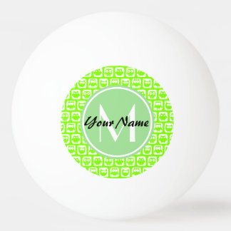 Neon Lime Owls Personalized Monogram Ping Pong Ball