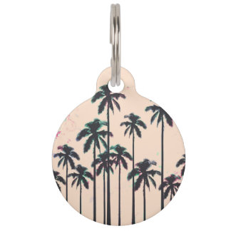 Neon Lined Black Palm Trees on Peach Horizon Pet ID Tag